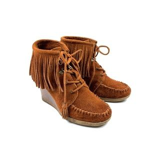 MINNETONKA Suede Wedge Moccasins Fringe Boots